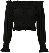 Norma Kamali Cropped Peasant blouse - women - Polyester/Spandex/Elastane - M