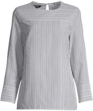 Misook Mixed Striped Blouse