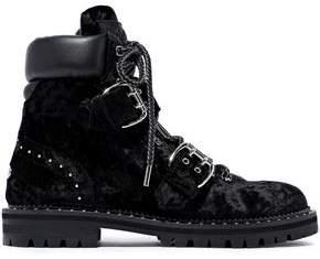 Jimmy Choo Buckled Leather-paneled Studded Velvet Combat Boots