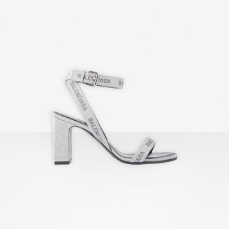 Balenciaga Allover Logo Round 80mm Ankle Strap Sandal