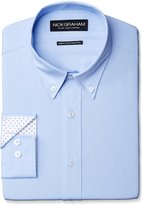 Nick Graham Men's Solid Cotton Poplin Dress Shirt- Modern Fit- Button Down Collar