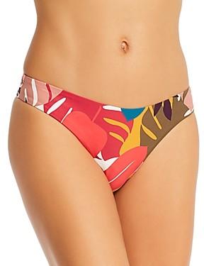 Red Carter Hipster Palm Print Bikini Bottom