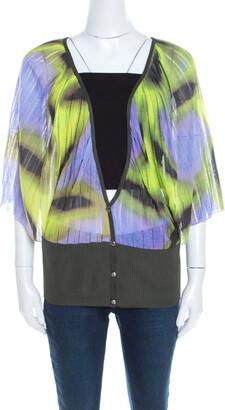 Escada Multicolor Fantasy Print Knit Kimono Sleeve Cardigan L
