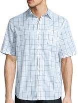 Claiborne Short Sleeve Black White Woven Button-Front Shirt