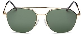 Le Specs Luxe Unisex Ilky Brow Bar Aviator Sunglasses, 57mm