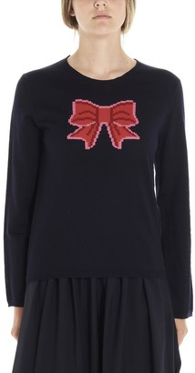 COMME DES GARÇONS GIRL Bow Intarsia Knitted Sweatshirt