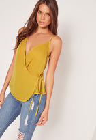 Missguided Satin Wrap Tie Cami Top Chartreuse Green