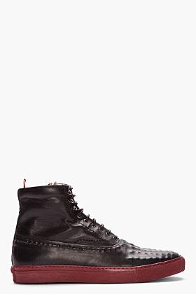 Alexander McQueen black hand-embossed leather sneakers