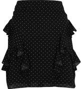 River Island Womens Black polka dot frill mini skirt