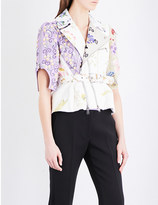 Alexander McQueen Floral-embroidered cropped leather jacket