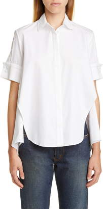 ADAM by Adam Lippes Trim Cotton Poplin Trapeze Shirt