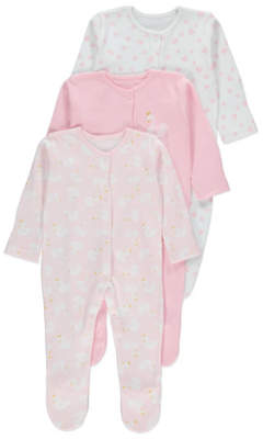 George Pink Swan Sleepsuits 3 Pack