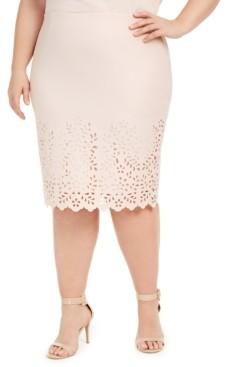Nine West Plus Size Laser Cut Pencil Skirt