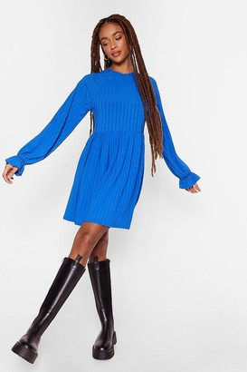 Nasty Gal Womens In a State of Smock Ribbed Mini Dress - Blue