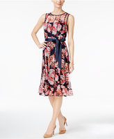 Jessica Howard Pintucked Floral-Print Sash Dress