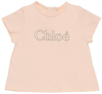 Chloé Embroidered Logo Cotton Jersey T-Shirt