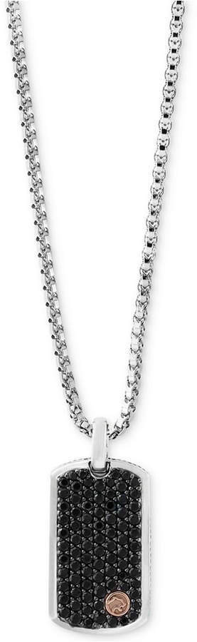 Effy Men's Black Sapphire Dog Tag Pendant Necklace (3 ct. t.w.) in Sterling Silver & 18k Rose Gold
