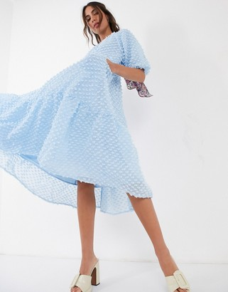 Sister Jane oversized smock dress with tiered skirt in texture