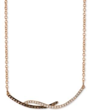"LeVian Le Vian Chocolatier Diamond Swirl Bar 18"" Pendant Necklace (1/3 ct. t.w.) in 14k Rose Gold"