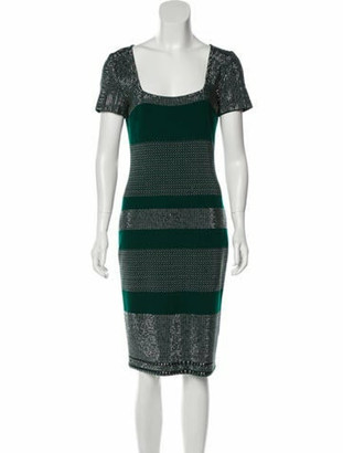 St. John Printed Knee-Length Dress w/ Tags Green