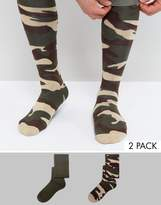 Asos Festival Welly Socks With Camo Design 2 Pack