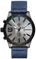 Men's Diesel The Rasp Chronograph Leather Strap Watch, 46Mm
