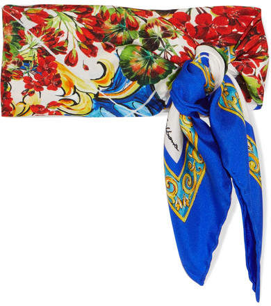 Dolce & Gabbana Printed Silk-twill Scarf - Red
