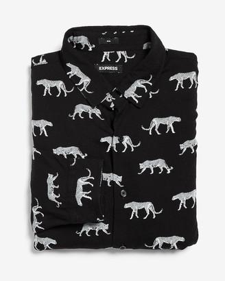 Express Slim Leopard Print Button-Up Dress Shirt