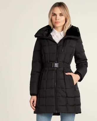 MICHAEL Michael Kors Faux Fur Hood Belted Down Puffer Jacket