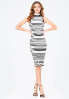 Bebe Striped Mock Neck Dress