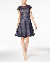 Sangria Petite Sequined Lace Fit & Flare Dress