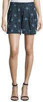 Armani Collezioni Dot-Print Pleated Shorts, Navy/Multi