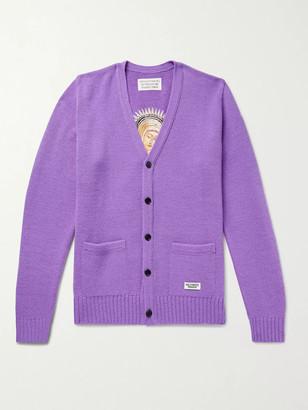 Wacko Maria Embroidered Wool Cardigan - Men - Purple