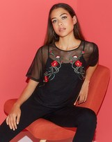 Quiz Embroidered Mesh Top