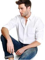 Joe Fresh Men's Linen Blend Dress Shirt, White (Size XS)