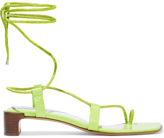 Rag & Bone Cindy Tie Neon Snake-effect And Patent-leather Sandals