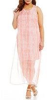 Vince Camuto Plus Sleeveless Graceful Phrases Chiffon Overlay Dress