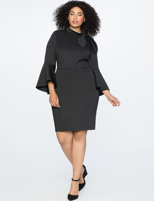 ELOQUII Tie Neck Flounce Sleeve Dress