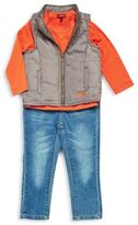 7 For All Mankind Little Boy's Long Sleeve Tee, Vest & Jeans Set