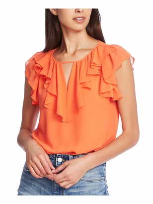1 STATE Womens Orange Ruffled Solid Cap Sleeve Keyhole Top Size: XXS