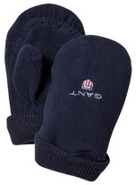 Gant Navy Branded Baby Fleece Mittens