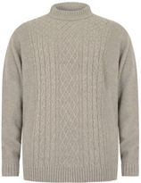 Yours Clothing BadRhino Plus Size Mens Jumper Cardigan Top Oatmeal Crew Neck Cable Knit Sweater