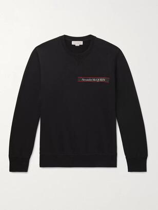 Alexander McQueen Slim-Fit Logo-Print Webbing-Trimmed Looback Cotton-Jersey Sweatshirt