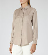 Reiss Meera Silk Pocket-Front Shirt