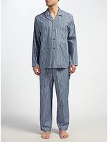 John Lewis Rochester Satin Stripe Pyjamas, Blue/red