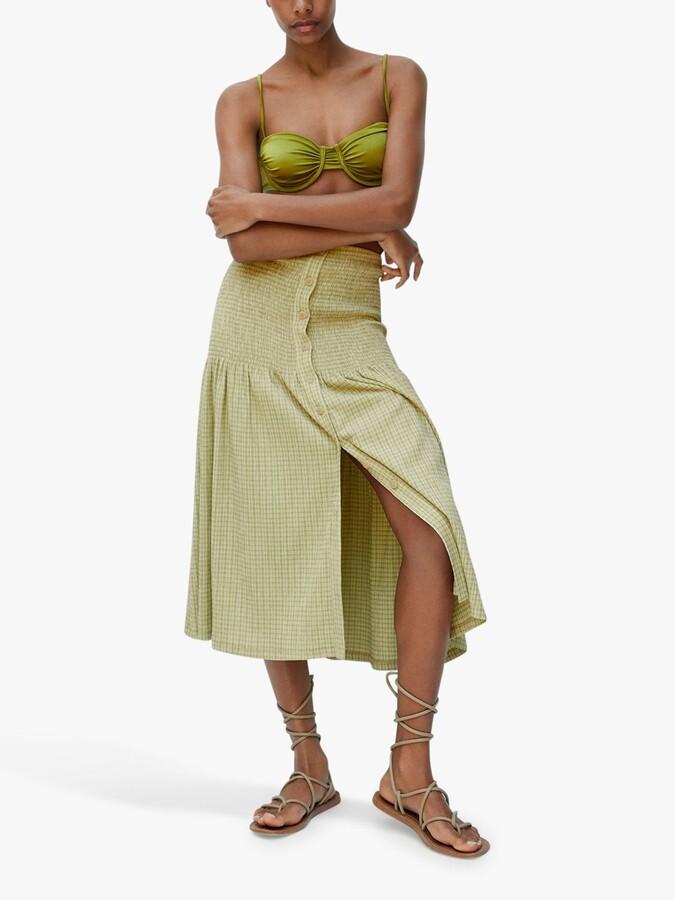 Thumbnail for your product : MANGO Gingham Print Button Through Midi Skirt, Green