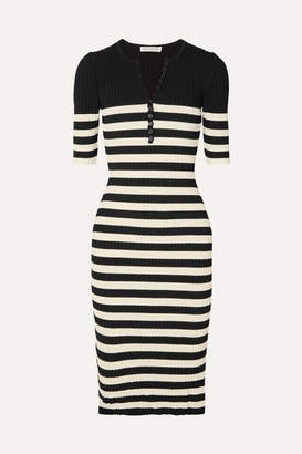 Altuzarra Sunday Striped Ribbed Stretch-knit Midi Dress - Black