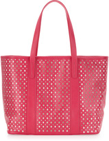 Neiman Marcus Perforated Tote Bag, Fuchsia