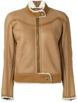 Chloé shearling lined jacket - women - Cotton/Leather - 36