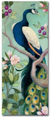 """Trademark Fine Art Julia Purinton 'Pretty Peacock I' Canvas Art, 10"""" x 24"""""""